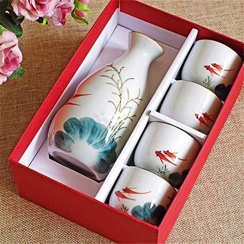 KCCCC Copa de Sake Tradicional 5 Piezas de Sake japonés Copa Conjunto Pintado a Mano Diseño Floral Cerámica Shochu Vajilla Copas de Vino de artesanía (Color : Floral, Size : Free Size)