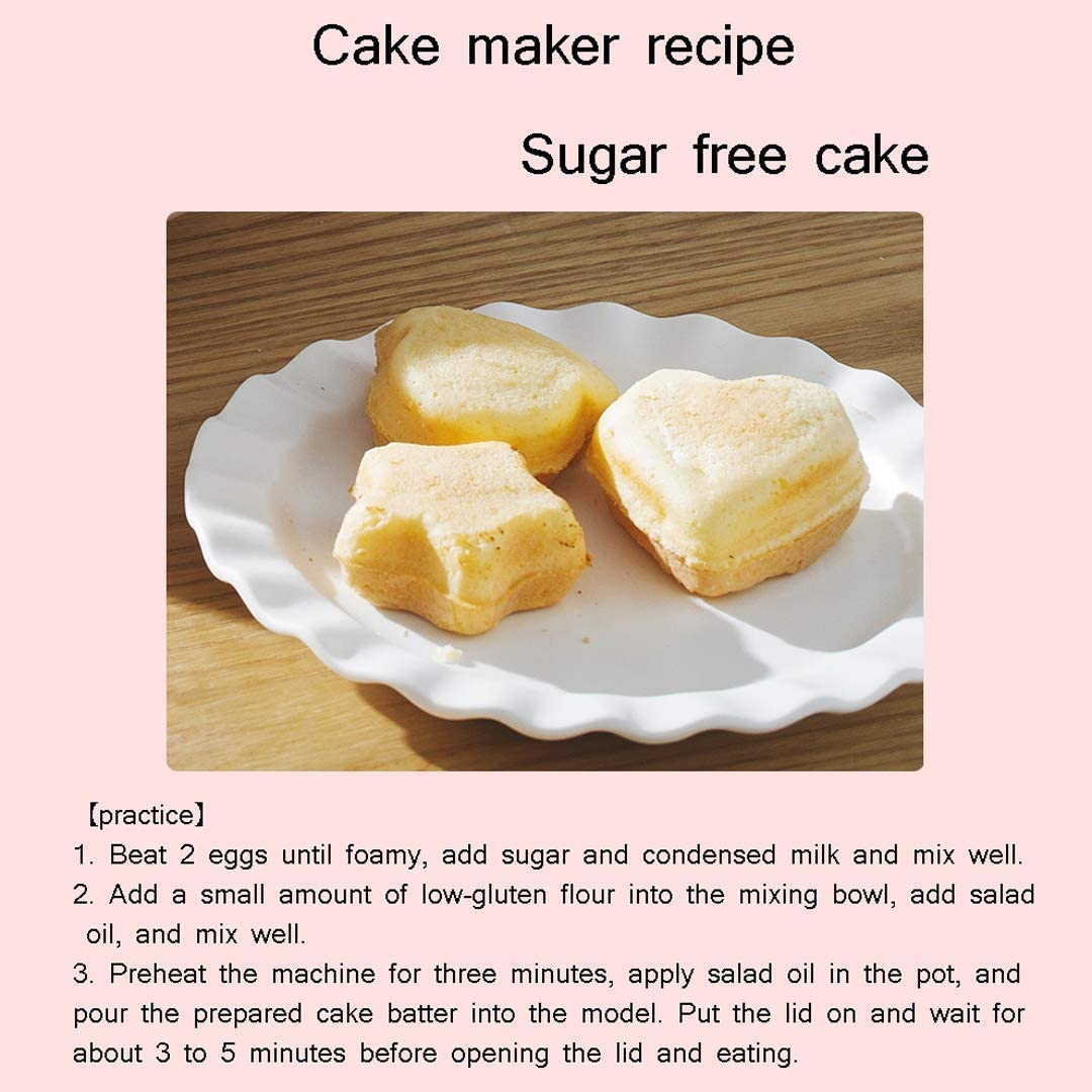 L.TSN Machine à gâteaux, Machine à Cuire Multifonction Domestique 8 gâteaux à la Fois, Surface antiadhésive Facile à Nettoyer, 1000 W Pink