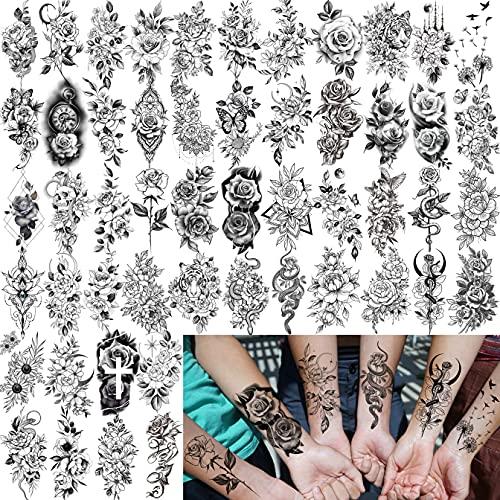 Bilizar 52 Blatt klein schwarz Blume Temporäre Tattoos Frauen Arm Hals, 3D Realistische Schlange Rose Fake Tattoos Erwachsene, Mädchen Wasserdicht Temporary Tattoos Aufkleber Klebetattoos Damen Haut