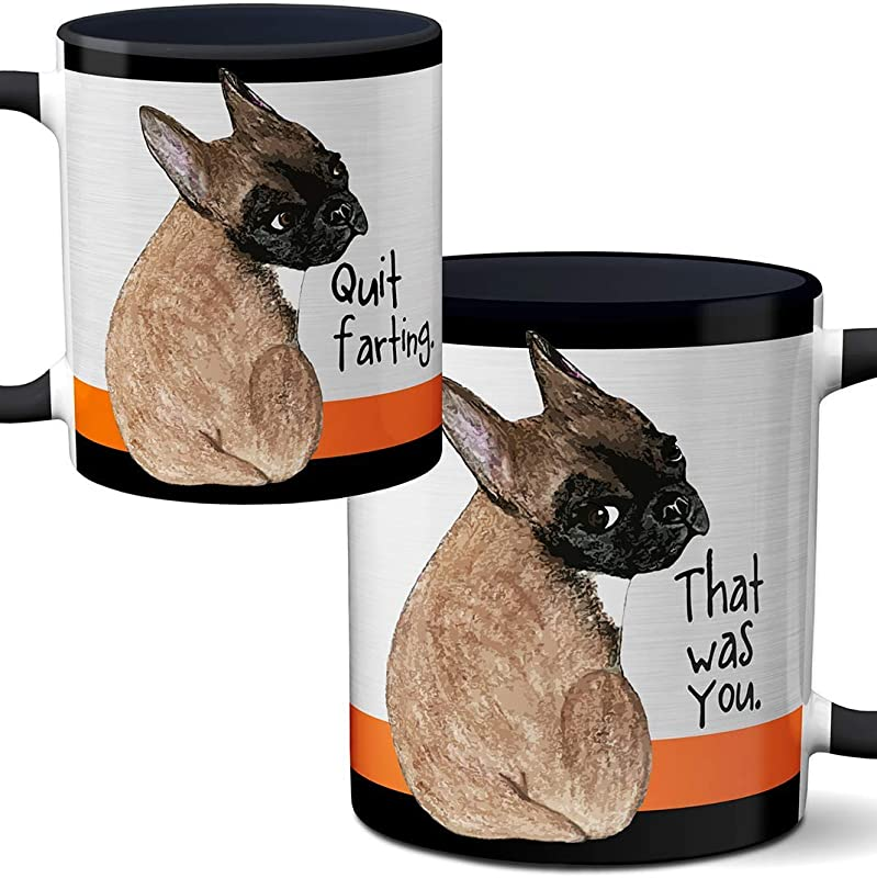 Farting Black And Tan French Bulldog 11oz Mug By Pithitude One Single Black Coffee Cup