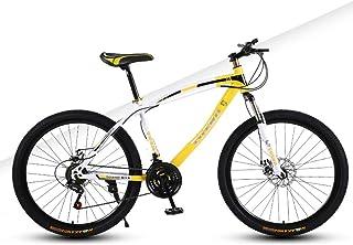 AP.DISHU 24 Speed Mountain Bike Double Disc Brake 24 Inch Wheels Child Unisex Bicycle Front Suspension MTB Spoke Wheel,Yellow