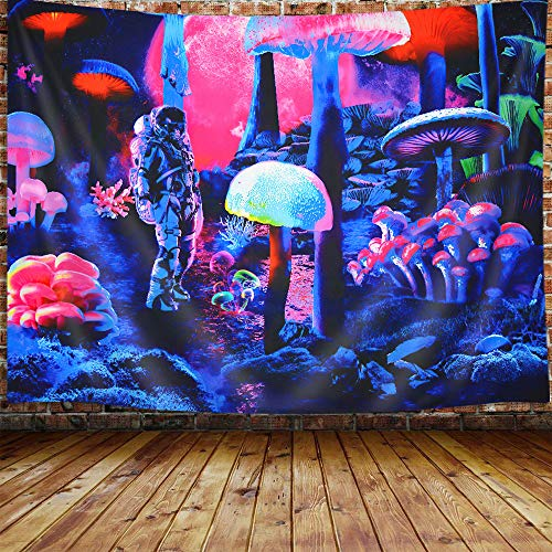 Trippy Mushroom Small Tapestry for Men, Psychedelic Space Astronaut Neon Tapestry Wall Hanging for Bedroom, Cool Blacklight Tapestries Poster Beach Blanket College Dorm Home Decor (60W X 40H)