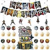 Naruto Decoración para Fiestas - YUESEN Naruto Suministros para Fiesta Cumpleaños Letra Banner Accesorios de Decoracion Cake Toppers,Remolino Colgante Decoraciones(20pcs)