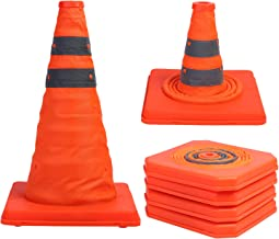 Sunnyglade 4 Pack 15.5 inch Collapsible Traffic Cones Multi Purpose Pop up Reflective Safety Cone (4), Orange