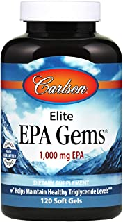Carlson - Elite EPA Gems, 1000 mg EPA Fish Oil, Wild-Caught, Norwegian Fish Oil, Sustainably Sourced, Helps Maintain Healt...