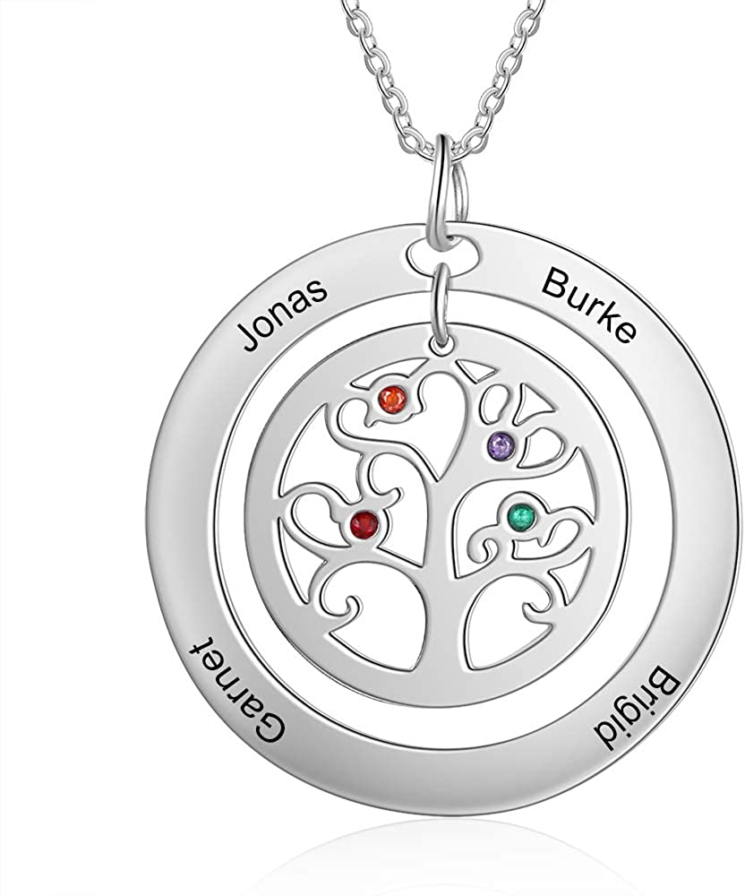Personalized Family Tree of Life Mothers Necklace with 2-9 Simulated Birthstones Children Names Engraved Jewelry for Women