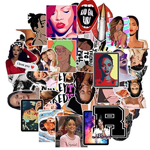 50 pegatinas de vinilo Rihanna, adecuadas para portátiles, botellas de agua, maletas, monopatines, PS4, Xbox One, teléfonos, coches, motocicletas, niños y niñas, lindas pegatinas de PVC impermeables