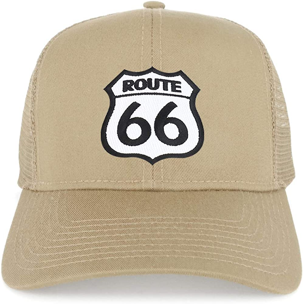 Armycrew Route 66 White Black Patch Structured Trucker Mesh Cap