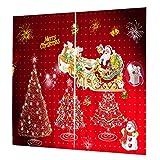 MagiDeal 2pcs Rideau de Fenêtre Décoratif pour Noël en Polyester Imprimé 3D de Noël avec Anneau de Rideau 75x166cm - 023