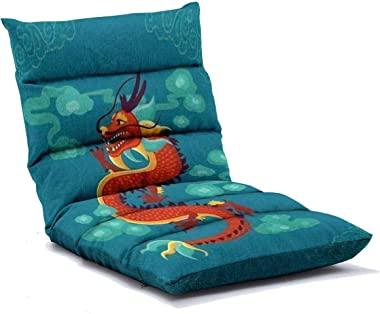 Floor Lounger Red Chinese Dragon Adjustable Floor Sofa 6-Position Memory Foam Folding Lounge Chair for Kids Adults Home Readi