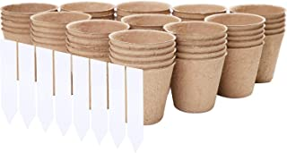 URATOT 50 Pieces Peat Pots Seed Starter Eco-Friendly Enhance Aeration with Plant Tags for Home Plant Starters