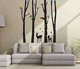 Fymural Giant Forest Deers Tree Wall Stickers for Kid Baby Nursery Livingroom Background Vinyl Removable Art Mural Wallpaper DIY Decals 94.5x102.4,Black