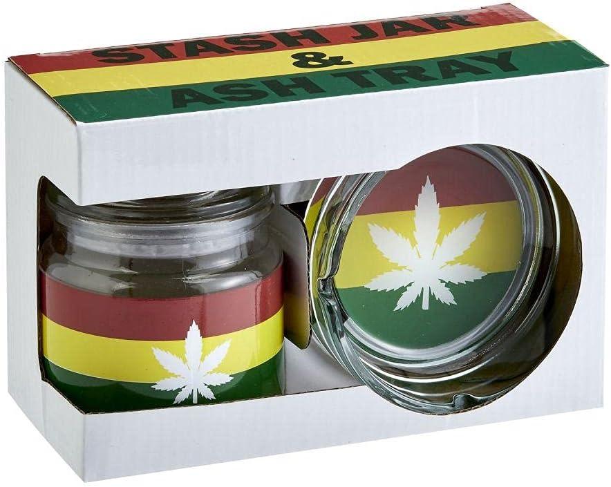 ash tray lighter Rasta rolling tray stash jar