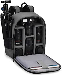 CADeN Camera Backpack Bag Professional for DSLR/SLR Mirrorless Camera Waterproof, Camera Case Compatible for Sony Canon Nikon Camera and Lens Tripod Accessories Gray