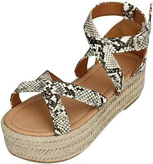 YYW Womens Espadrille Platform Sandals Strappy Open Toe Ankle Strap Summer Sandals
