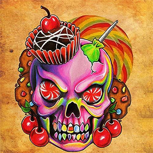 5D diy pintura diamante taladro completo kit Cráneo de color Diamond Painting diamantes de imitación bordado punto de cruz cuadros, Oficina/Sala/Comedor Pared Decoración arte Round drill 60x60cm