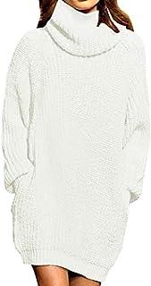 Auxo Vestito Maglione Donna Inverno Elegante Collo Alto Abito Slim Aderente in Maglia a Manica Lunga Pullover