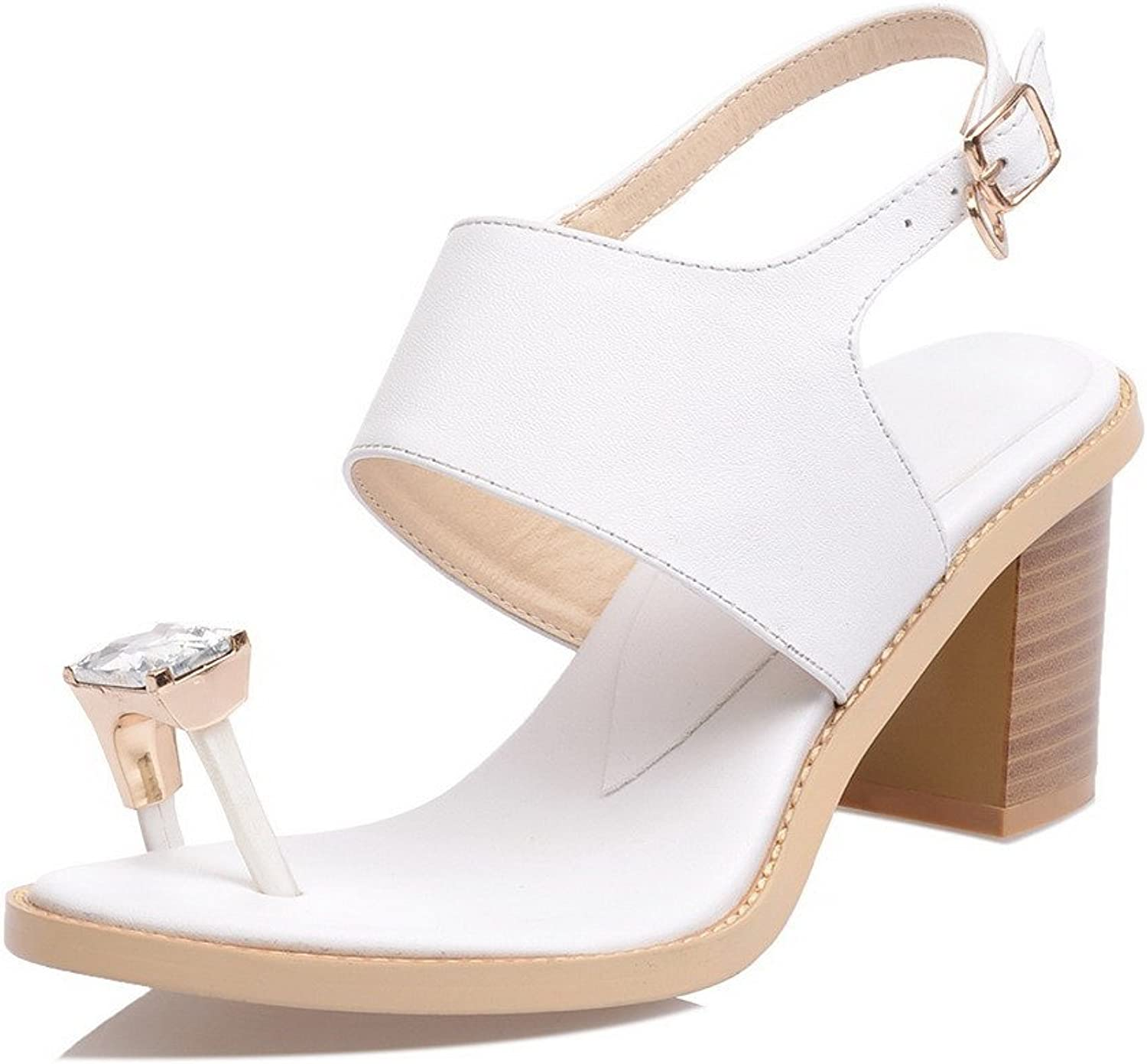 AllhqFashion Women's Buckle Open Toe Kitten Heels Solid Sandals