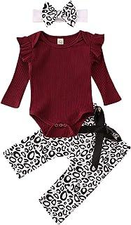 Geagodelia Babykleidung Set Baby Mädchen Langarm Body Strampler  Leopard Hose  Stirnband Neugeborene Kleinkinder Warme Babyset Kleidung