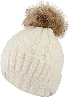 Gemvie Women Girls Warm Knitted Cabble Beanie Hat Outdoor Skiing Snowboard Bobble Pom Pom Hat