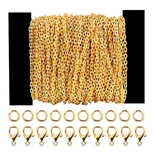 Siumir 39,4 Pies Cadena Chapada en Oro Cadena de Eslabones Metálicos 30 Cierres de Langosta 100 Anillos de Salto, para Fabricación de Joyería DIY (2,5 x 3mm)