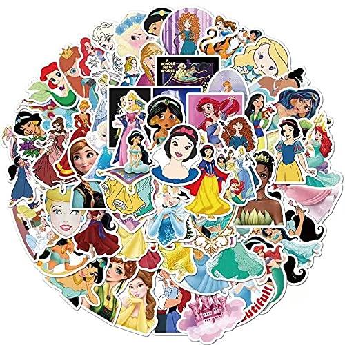 HAOZH Princesa de Disney conduciendo a la Maleta, Casco para portátil, Ordenador, Guitarra, monopatín, Pegatinas Impermeables, 100 Hojas