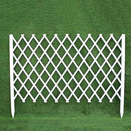 JHZWHJ White Garden Fencing,Telescopic Wooden Animal Barrier Lattice Panels for Outside,Outdoor Privacy Screens and Panels (Size : 105x30cm)