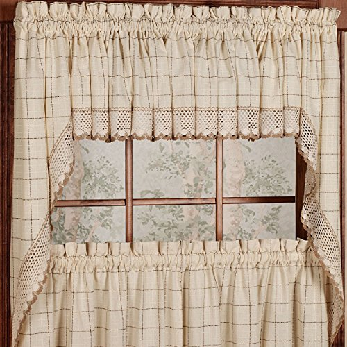 Sweet Home Collection Kitchen Window Tier, Swag, or Valance Curtain Treatment in Stylish and Unique Patterns and Designs for All Home Décor, Adirondack Toast