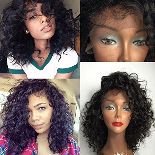 Maycaur Short Curly Lace Front Wigs Glueless Full Lace Human Hair Wig Bob Virgin Hair Wigs 180 Density(14inch full lace wig)
