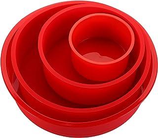قالب های کیک سیلیکونی گرد Bekith 4 بسته - قالب های سیلیکونی 4 اینچ 6.5 اینچ 8.5 اینچ 8.5 اینچ 9.5 اینچ برای پخت ، غیر استیک