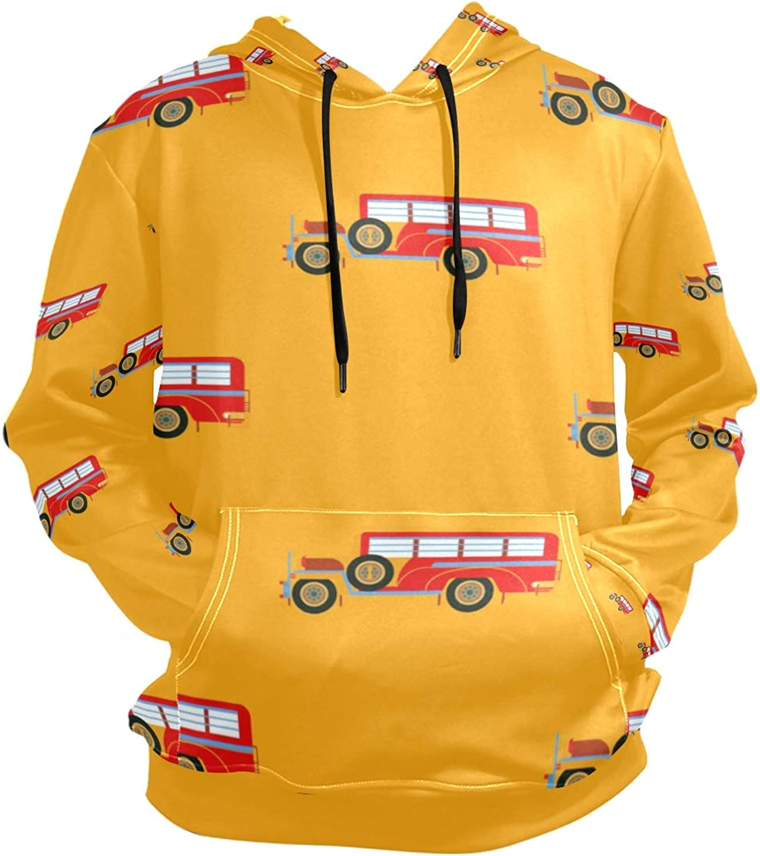 DEZIRO Red Classic Cars Mens' Autumn Winter Hoodie Long Sleeve Fleece