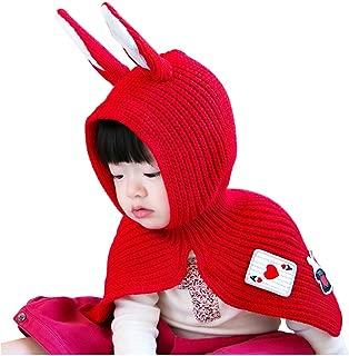 2-4 Years Baby Girls Kids Woolen Warm Winter Rabbit Shawls Hooded Cowl Bunny Beanie Caps