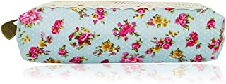 Sanwooden Creative and Fashionable Fashion Flower Print Pencil Pen Case Cosmetic Makeup Bag Zipper Stationery Pouch - Green