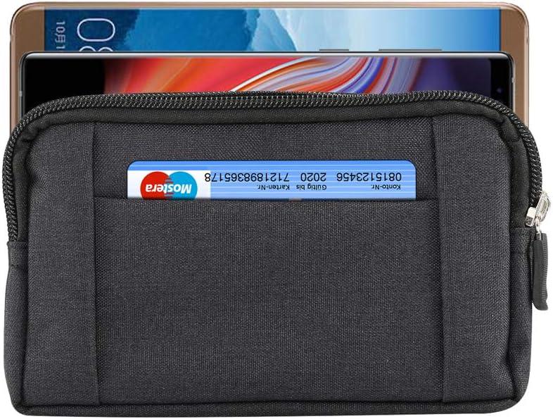 Men Denim Cellphone Holster Belt Clip Loop Pouch Case for Samsung Galaxy S8 Plus/S10/S9 Plus/Note 9/Note 8/M20/M30/LG G8 ThinQ/V50/V40 ThinQ/G7/Moto G7/G7 Plus/Google Pixel 3 XL/OnePlus 6 /6T (Black)