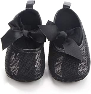 Shiny and Elegant Baby Girl Shoes, Full of Sequins and a Beautiful Bow (12-18 Months) Black