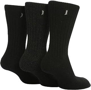 3 pares calcetines lana hombre senderismo caminar en negro y marrón