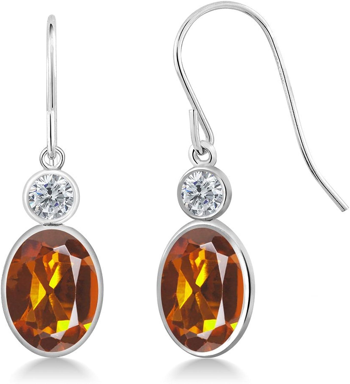 2.40 Ct Oval orange Red Madeira Citrine G H Diamond 14K White gold Earrings