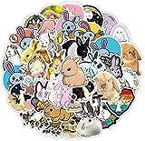 JZLMF 50 Stück süße Kaninchen Cartoon Doodle Aufkleber Gepäckwagen Gepäck Kühlschrank Autoaufkleber