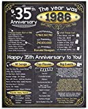 Happy 35th Anniversary (Thirty-five, 35) - Year 1986-11x14 Unframed Poster - Perfect Gift and Party Decoration Under $15