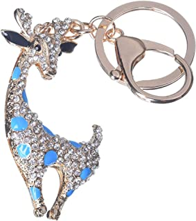 Girl's Deer Keychain Gold Plated Bag Charm Cute Car Key Ring Crystal Purse Pendant #51613