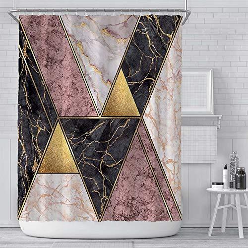 Thinyfull Marmor Duschvorhang, moderner Luxus geometrische Linien Textur Stoff Badezimmer Gardinen mit Haken Wasserdicht Waschbar, 183 x 183 cm, Rose Gold Pink Schwarz Weiß