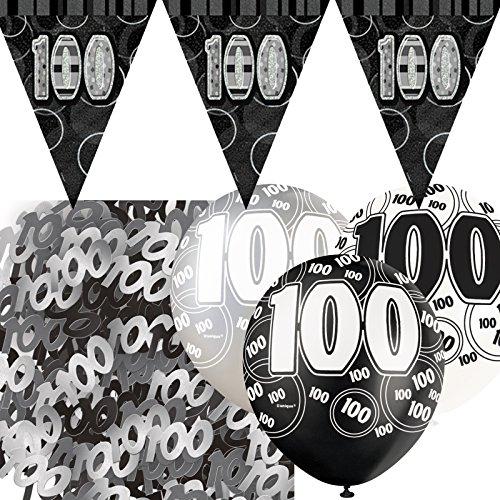 Kit de décoration de fête Noir et Argent 100 ans - avec bannière avec fannions