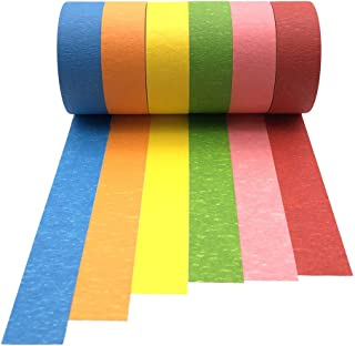 Colored Masking Tape Rainbow Color Craft Paper Tape 1in×21yd Pack of 6