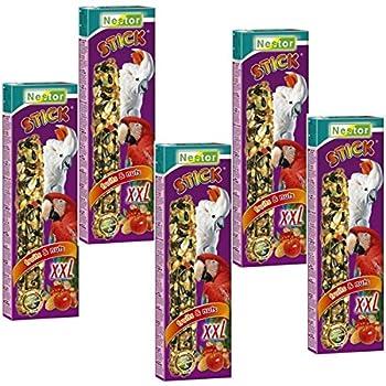 Lot de 5 boîtes de 2 bâtonnets XXL Nestor - Nourriture de perroquet - Composée de fruits et de noix