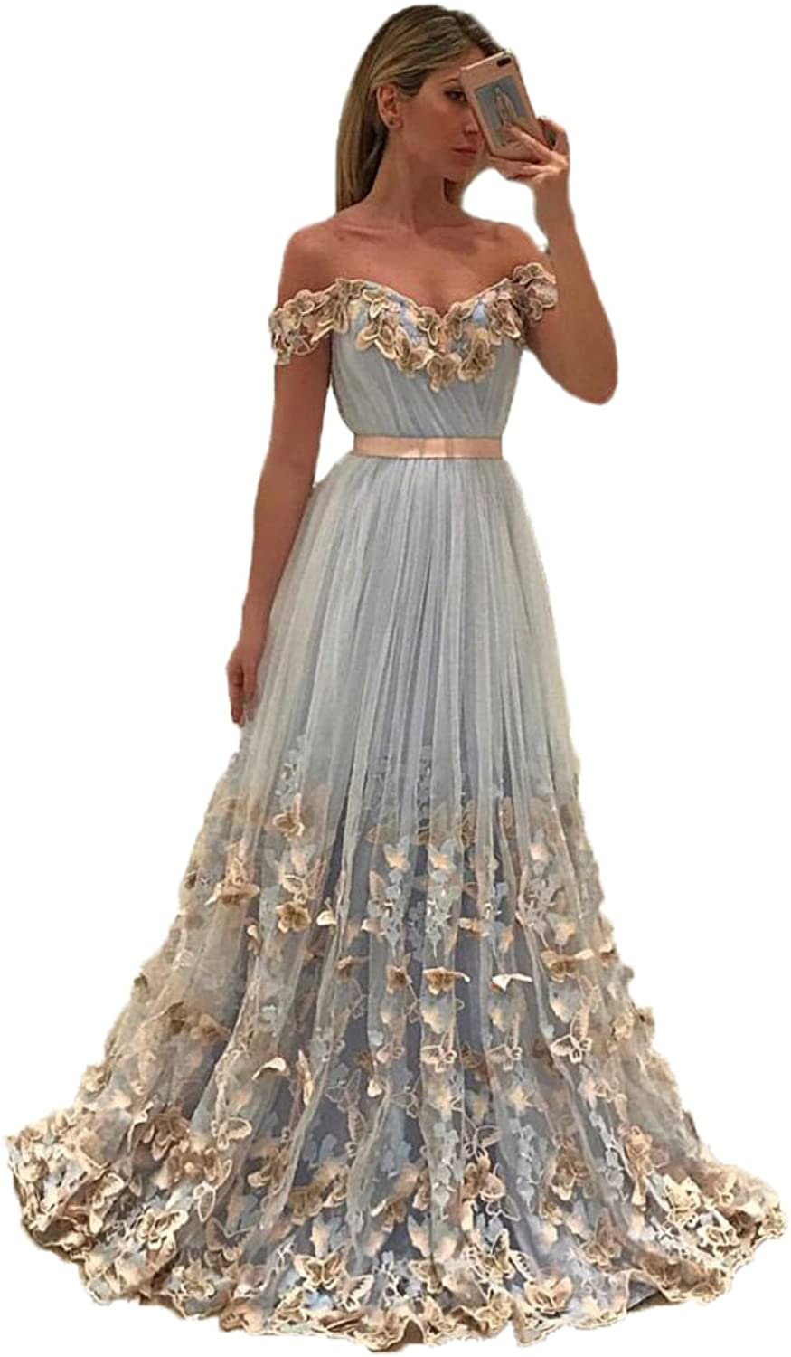 Uryouthstyle 2017 Off Shoulder Long Aline Prom Dresses with Butterfly