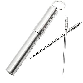 PPFISH Pocket Toothpick Holder keychain - Waterproof Metal Toothpick Box Container & 2 Titanium Toothpick Ultralight Travel Kits