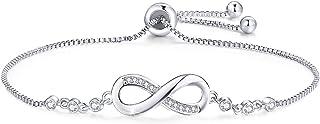 Tusuzik 925 Argent fin Bracelet infini Damour sans fin Symbole Bracelet réglable avec Zircon Cubique pour Femme