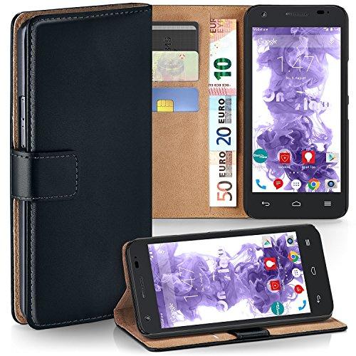 MoEx Premium Book-Case Handytasche kompatibel mit Vodafone Smart 4 Turbo | Handyhülle mit Kartenfach und Ständer - 360 Grad Schutz Handy Tasche, Schwarz