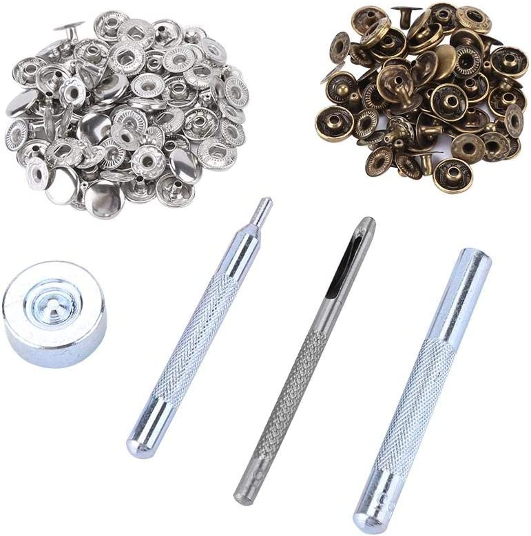 HEEPDD 30 Pcs Snap Buttons 2color 10mm 2 Colors Cover Snap Button Fastener Kit Marine Grade Screw-in Boat Canvas Snaps Nickel Plated Brass Replacement Fastener Screw