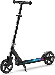 Kick Scooter, Scooter Adult ENKEEO with 220 lbs Capacity Big Wheels, Height Adjustable Handlebar Portable Oversized Wheels, Smart Brake System, Foldable Commuter Scooter for Kids Black